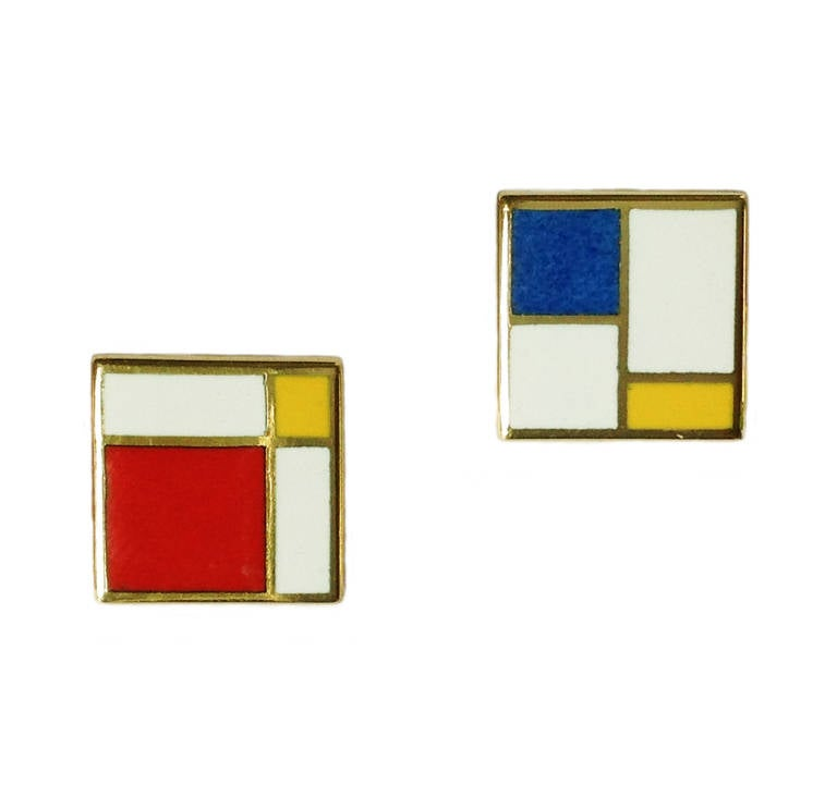 Dalben design Enamel and 18 kt yellow gold earrings 0,5 x 0,5 in. , inspired by Mondrian paintings.