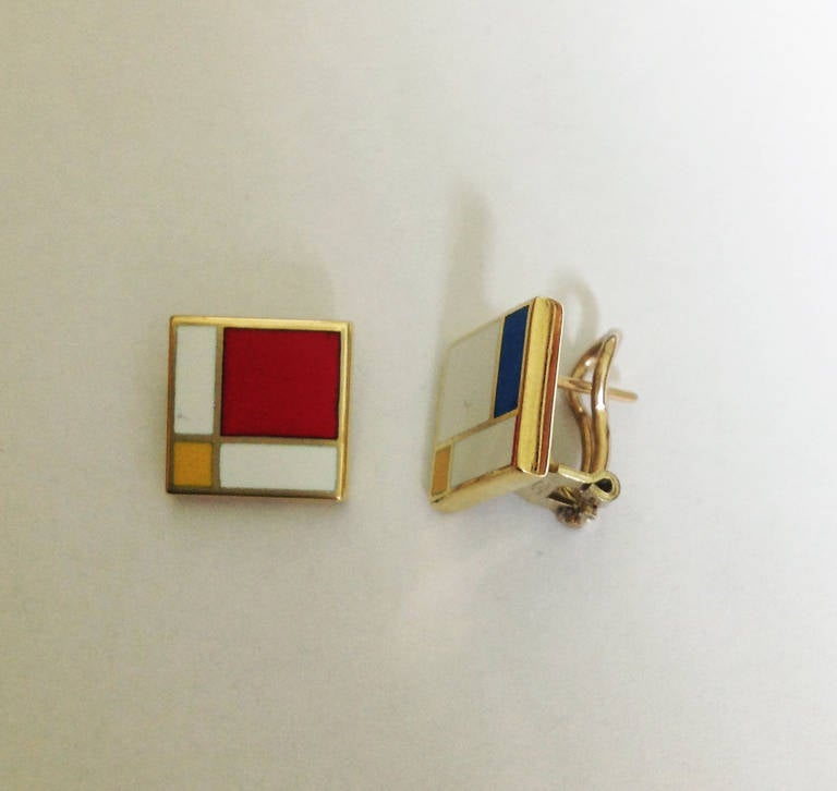Contemporary Dalben Homage to Mondrian Enamel Gold Earrings For Sale