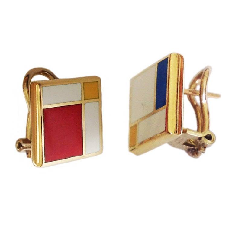 Dalben Homage to Mondrian Enamel Gold Earrings 1
