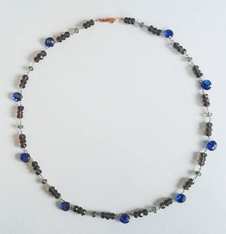 """Dalben design hand crafted necklace composed of pear cut kyanite, green sapphire , fumè quartz and 18 k rose gold. The necklace length is 15,80 inch (40 cm) and the rose gold closure is """"millerighe"""" engraved. We can modify the necklace"""