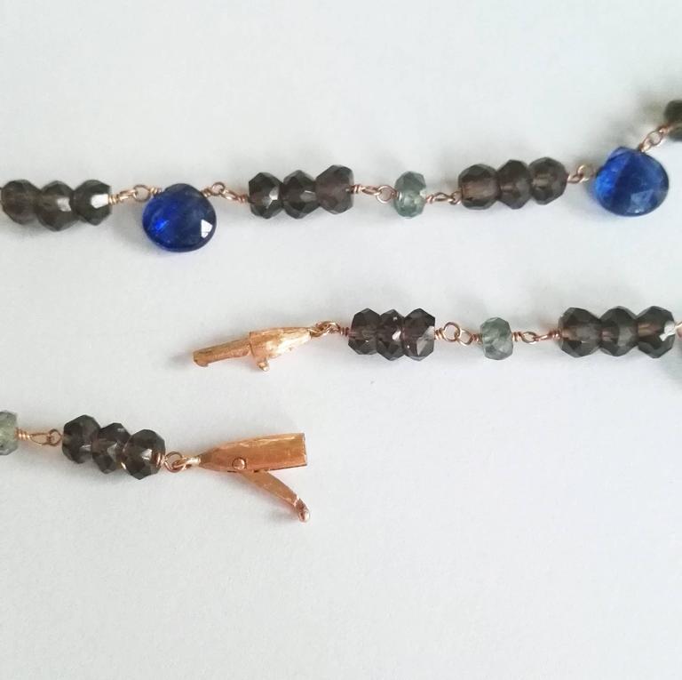 Women's Dalben Kyanite Green Sapphire Fumè Quartz Gold Necklace For Sale