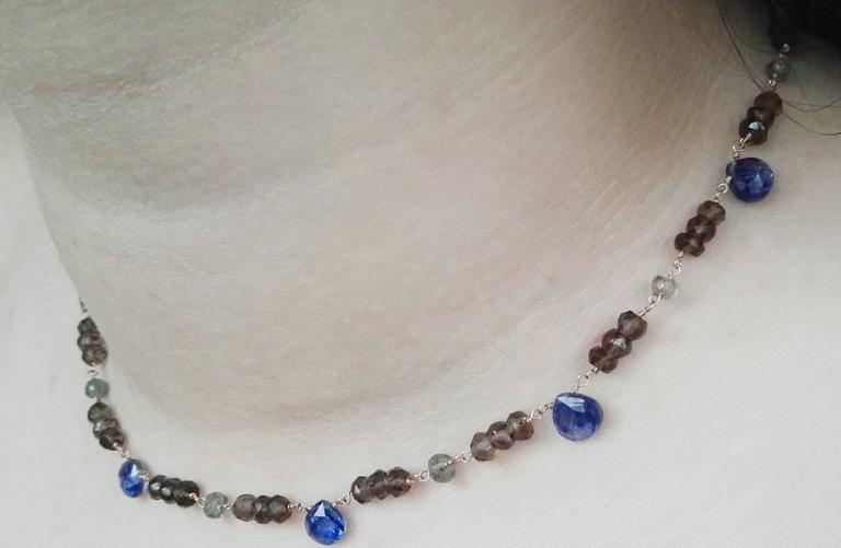 Dalben Kyanite Green Sapphire Fumè Quartz Gold Necklace For Sale 1