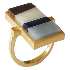 Dalben Semi Precious Stones Gold Ring