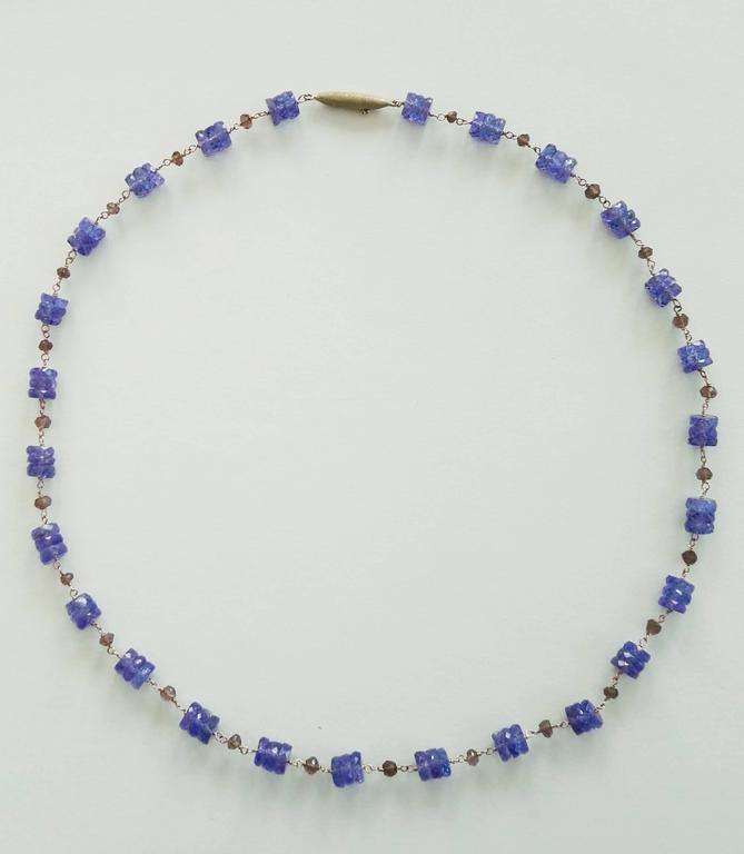 Dalben Tanzanite Smoky Quartz Gold Necklace In New Condition For Sale In Como, IT