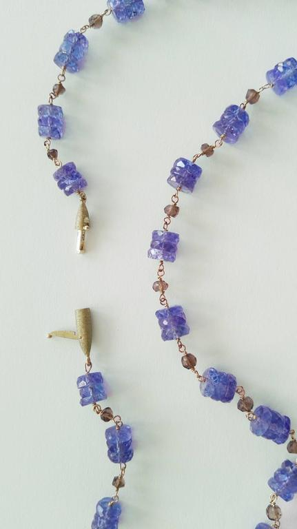Dalben Tanzanite Smoky Quartz Gold Necklace For Sale 2
