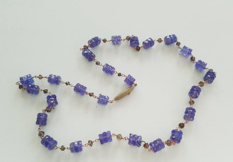 Contemporary Dalben Tanzanite Smoky Quartz Gold Necklace For Sale