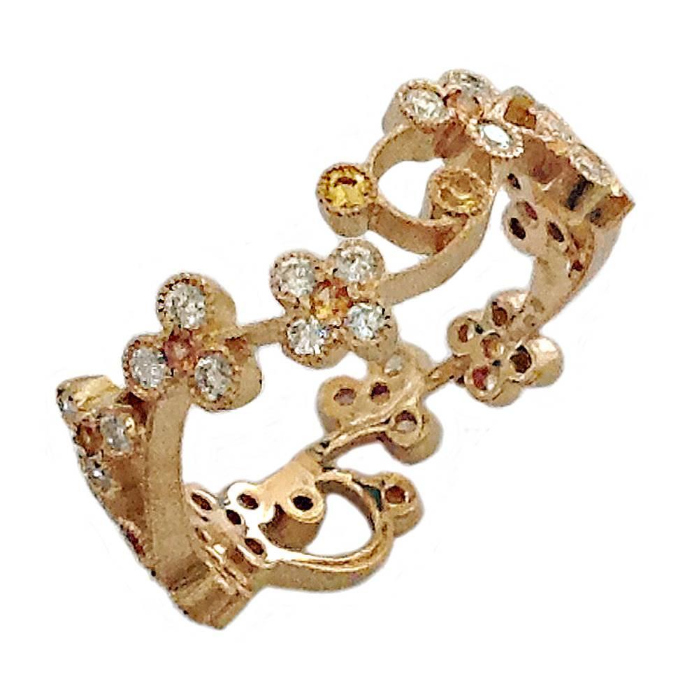 Dalben Yellow Sapphire Diamond Gold Band Ring