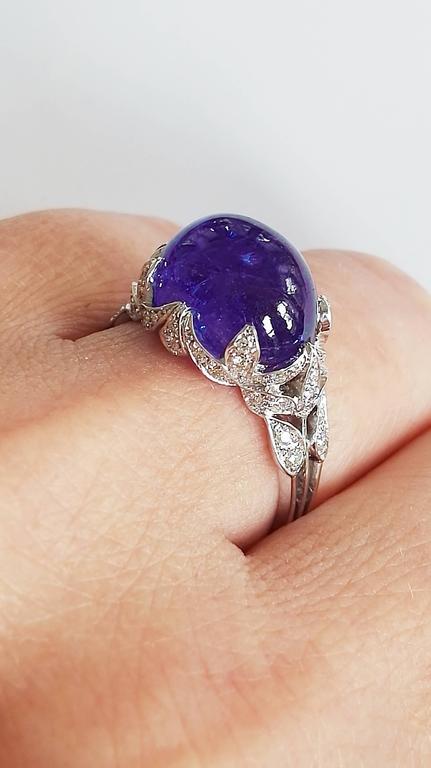 Dalben Tanzanite Diamond Gold Ring For Sale 2