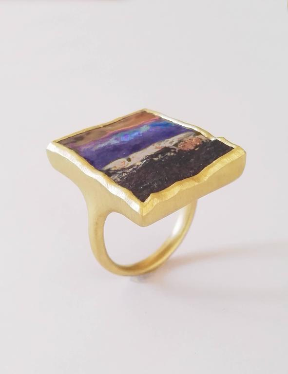 Dalben design One of a kind 18k yellow gold satin finishing ring with a 17.44 carat bezel-set Boulder Opal.