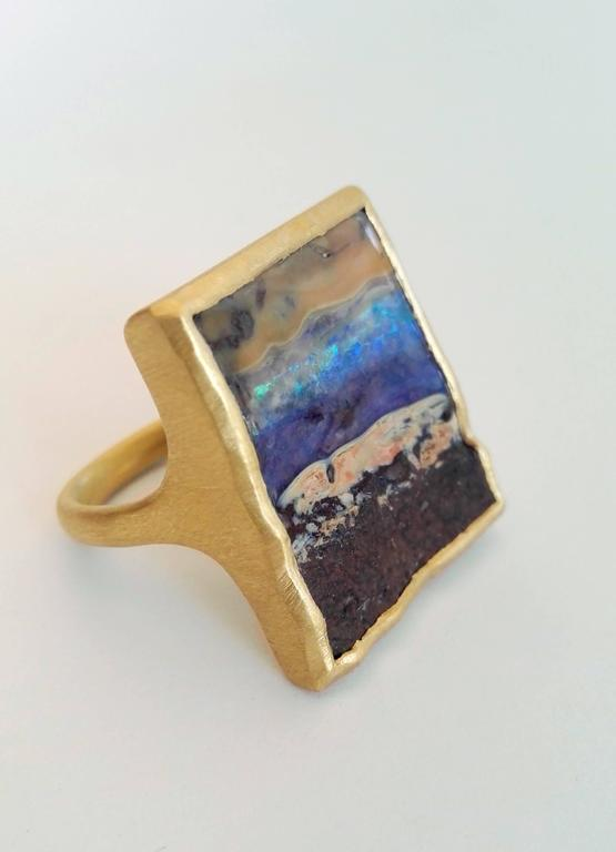 Contemporary Dalben Unique Boulder Opal Satin Gold Ring For Sale