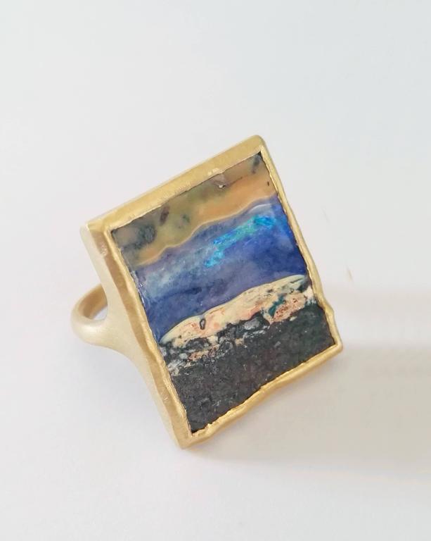 Women's or Men's Dalben Unique Boulder Opal Satin Gold Ring For Sale