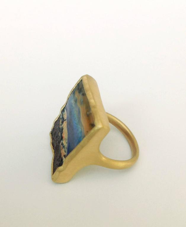Dalben Unique Boulder Opal Satin Gold Ring In New Condition For Sale In Como, IT