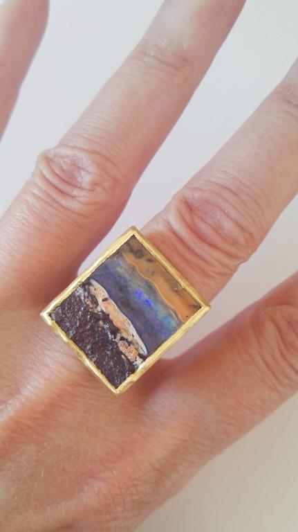 Dalben Unique Boulder Opal Satin Gold Ring For Sale 4
