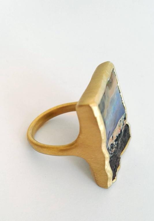 Dalben Unique Boulder Opal Satin Gold Ring For Sale 1