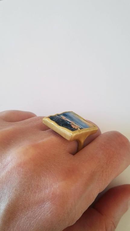 Dalben Unique Boulder Opal Satin Gold Ring For Sale 3