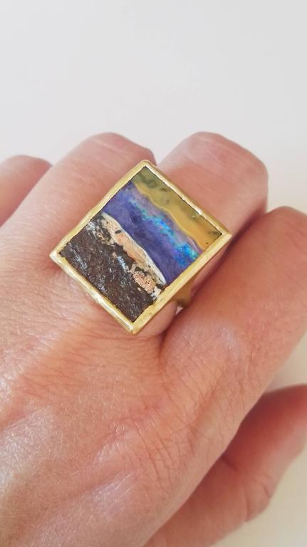 Dalben Unique Boulder Opal Satin Gold Ring For Sale 2