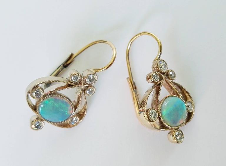 Contemporary Dalben Australian Opal Diamond Gold Earrings For Sale