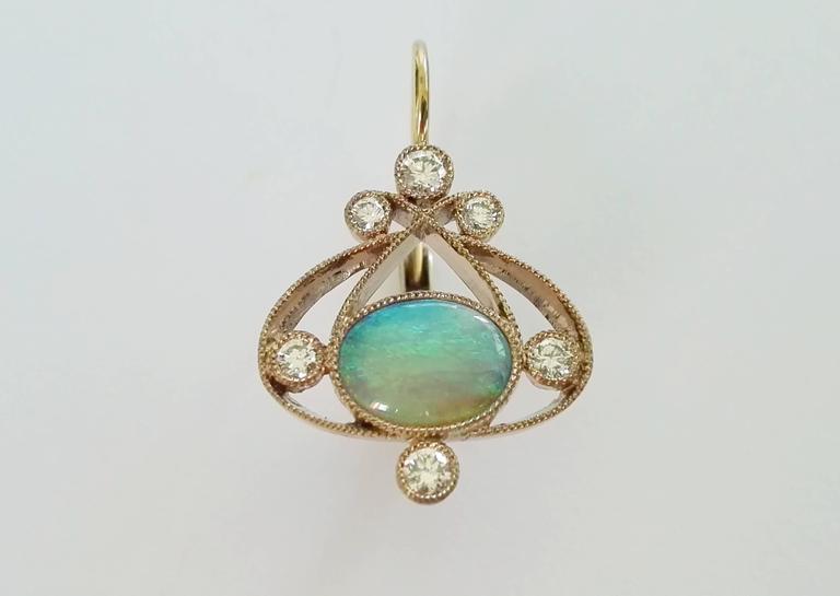 Dalben Australian Opal Diamond Gold Earrings In As New Condition For Sale In Como, IT