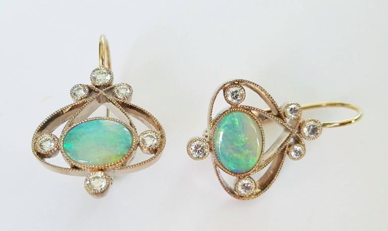 Women's Dalben Australian Opal Diamond Gold Earrings For Sale