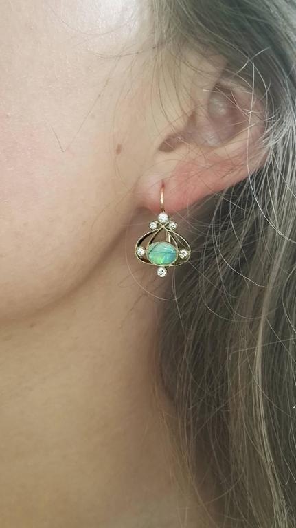 Dalben Australian Opal Diamond Gold Earrings For Sale 2