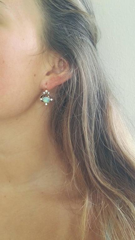 Dalben Australian Opal Diamond Gold Earrings For Sale 3
