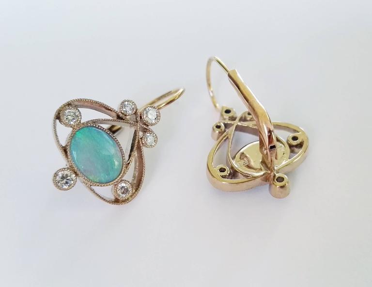 Dalben Australian Opal Diamond Gold Earrings For Sale 1