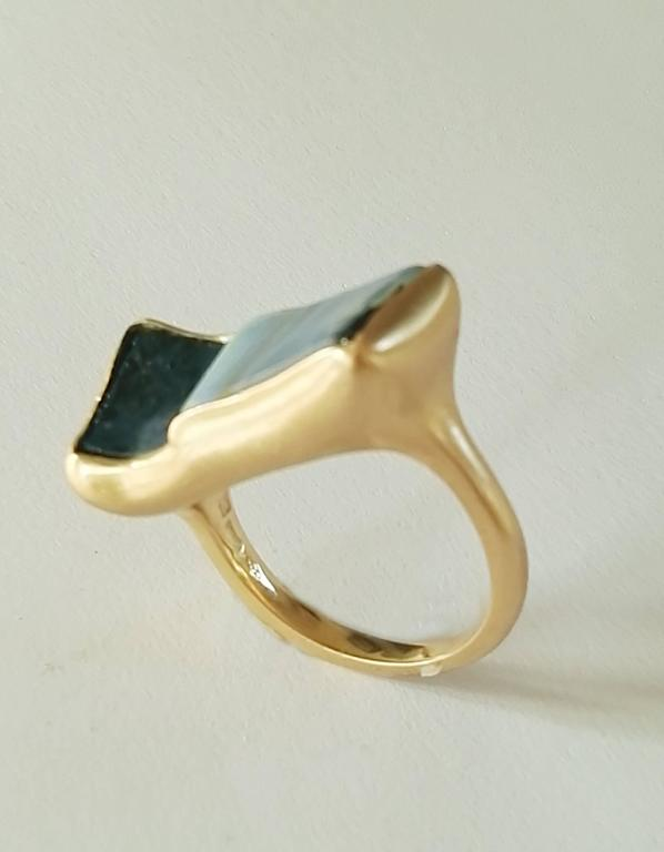 Dalben Rectangular Boulder Opal Gold Ring 2