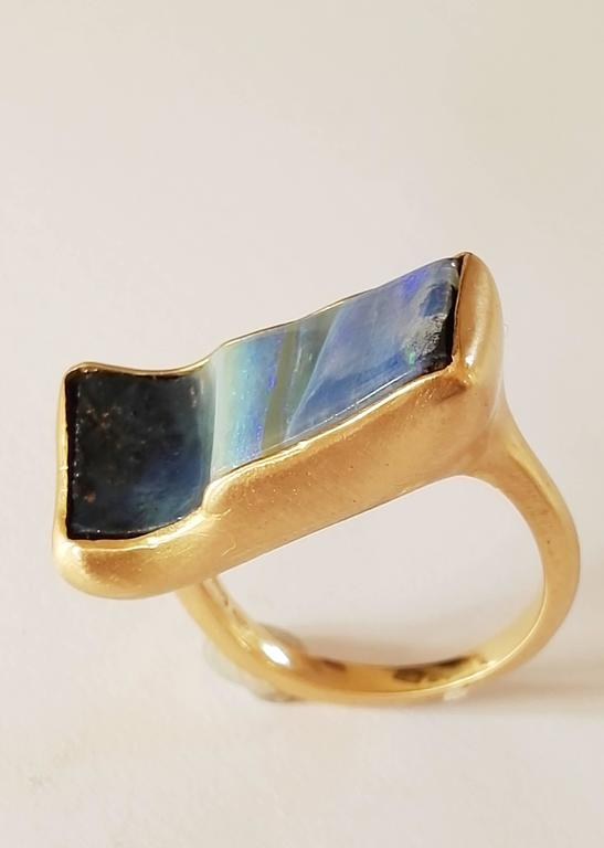 Dalben Rectangular Boulder Opal Gold Ring In New Condition For Sale In Como, IT