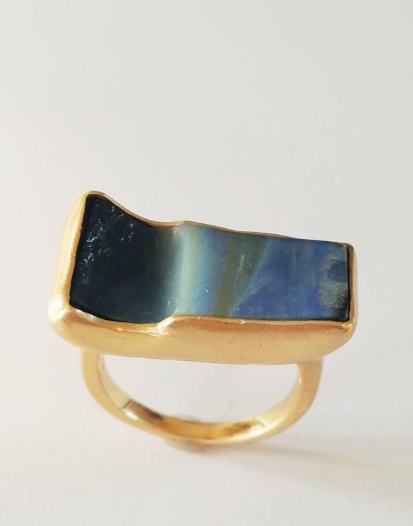Contemporary Dalben Rectangular Boulder Opal Gold Ring For Sale