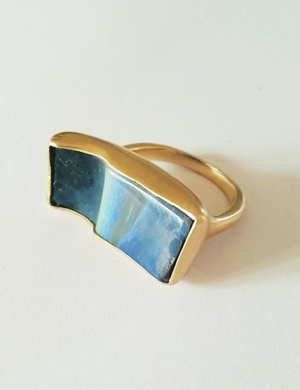 Dalben Rectangular Boulder Opal Gold Ring 6