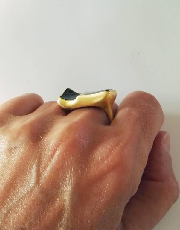 Dalben Rectangular Boulder Opal Gold Ring 10