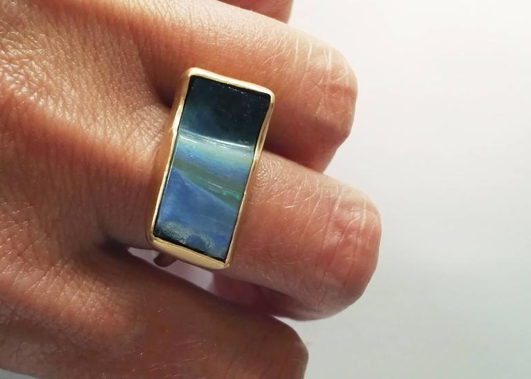 Dalben Rectangular Boulder Opal Gold Ring 8
