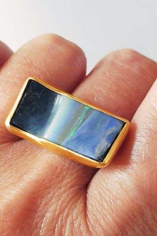 Dalben Rectangular Boulder Opal Gold Ring 9