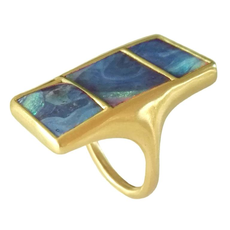 Dalben Three Boulder Opal Gold Ring