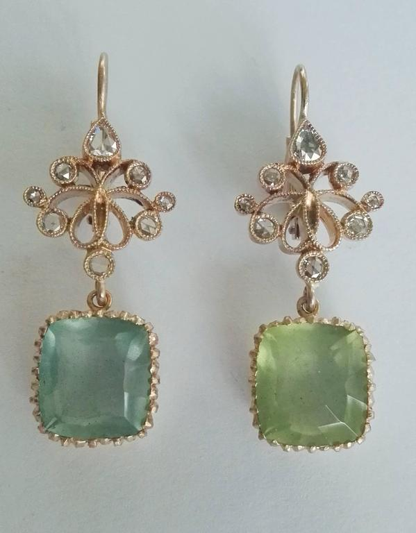 Women's Dalben Aquamarine Diamond Gold Earrings For Sale