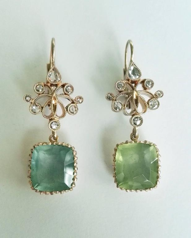 Contemporary Dalben Aquamarine Diamond Gold Earrings For Sale