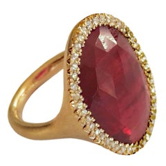 Dalben Red Faceted Sapphire Rose Cut Diamond Gold Ring