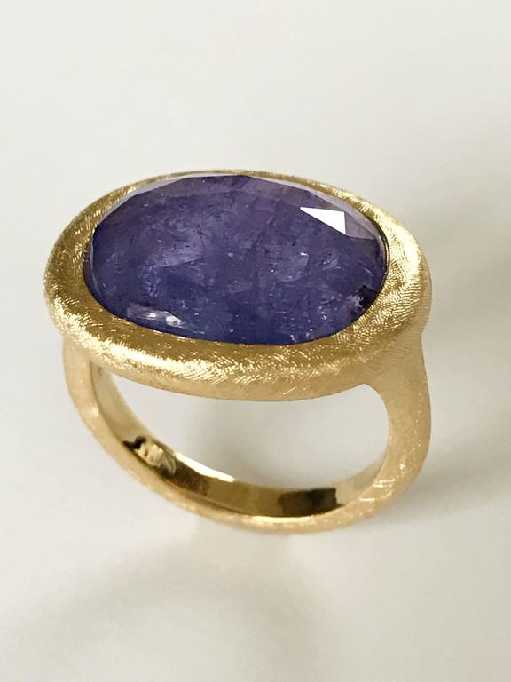 dalben tanzanite scratch engraved gold ring for sale at