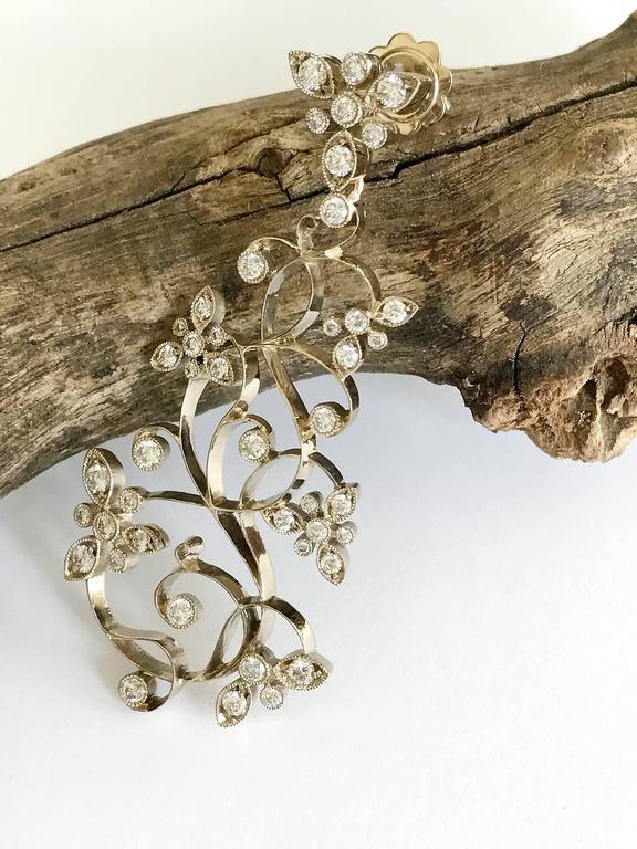 Dalben Diamond White Gold Floral Chandelier Earrings 2