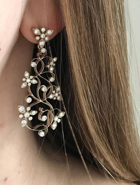 Dalben Diamond White Gold Floral Chandelier Earrings 8