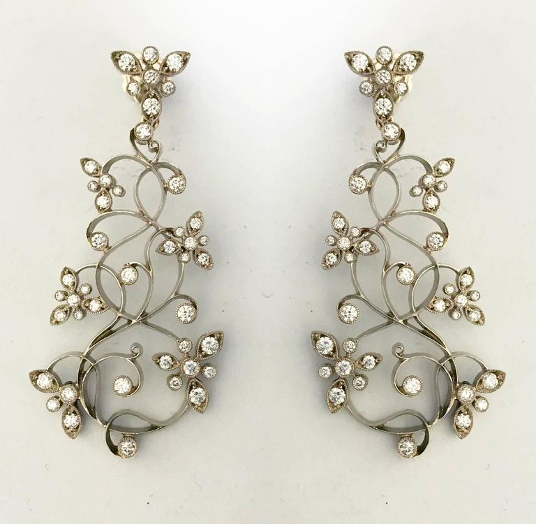 Dalben Diamond White Gold Floral Chandelier Earrings 5