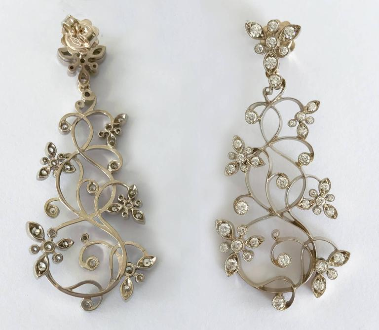 Dalben Diamond White Gold Floral Chandelier Earrings 6