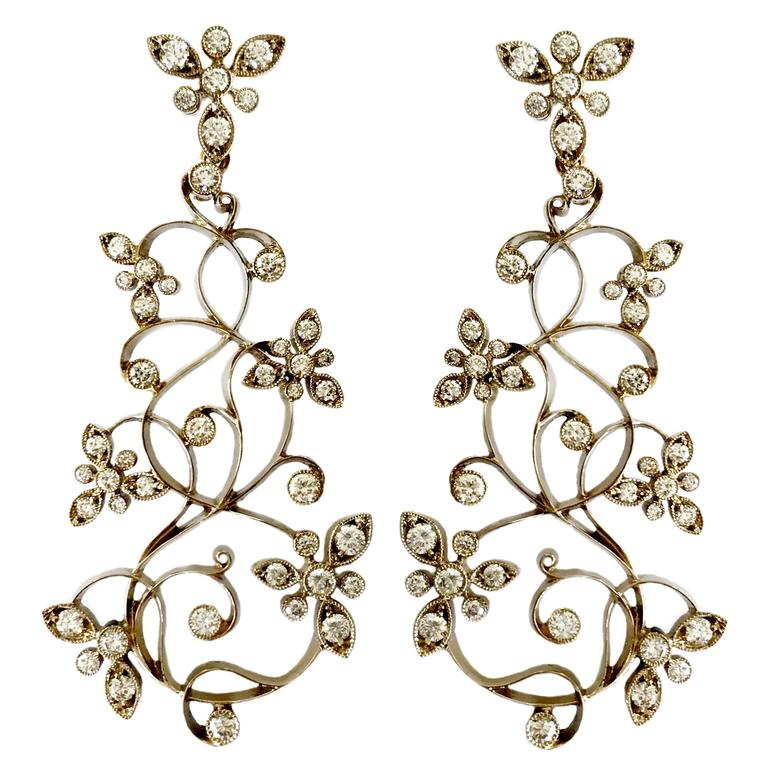 Dalben Diamond White Gold Floral Chandelier Earrings 1