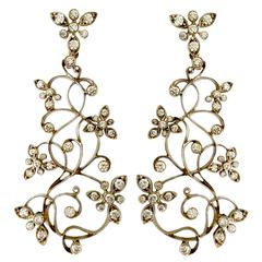 Dalben Diamond White Gold Floral Chandelier Earrings