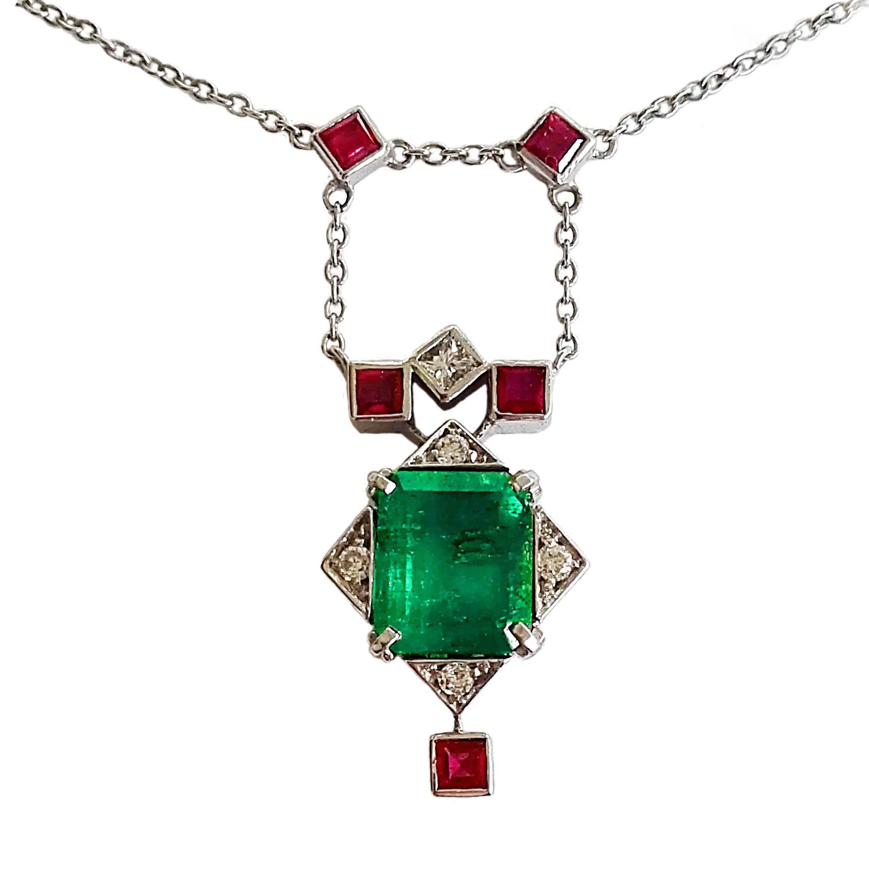 Dalben Emerald Ruby Diamond Gold Pendant Necklace