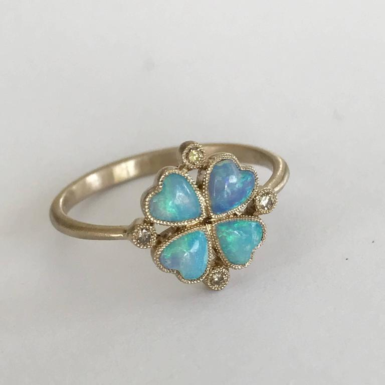 Dalben Opal Diamond and Gold Four-Leaf Clover Little Ring For Sale 3