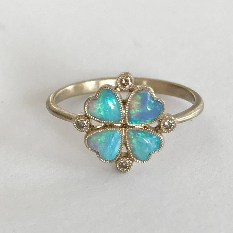 Dalben Opal Diamond and Gold Four-Leaf Clover Little Ring For Sale 4