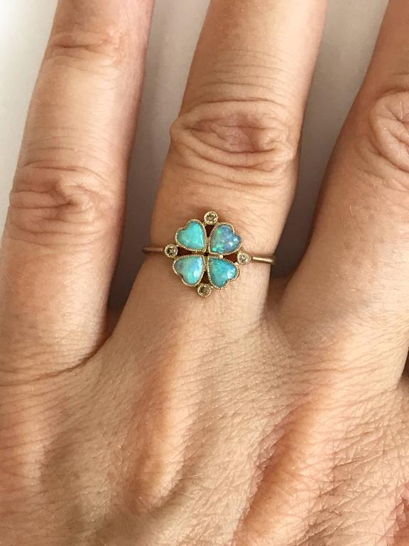 Contemporary Dalben Opal Diamond and Gold Four-Leaf Clover Little Ring For Sale