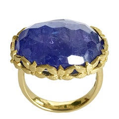 Dalben Oval Tanzanite Engraved Gold Cocktail Ring
