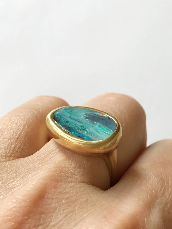 Dalben Stormy Sky Australian Boulder Opal Yellow Gold Ring For Sale 2